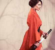 Beautiful asian woman warrior in red kimono with katana sword art photo print by ArtNudePhotos