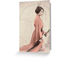 Asian woman in red kimono with a sword art photo print Greeting Card