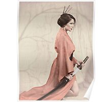 Asian woman in red kimono with a sword art photo print Poster