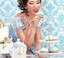 Beautiful lady is about to eat a cupcake at a tea party art photo print by ArtNudePhotos