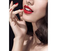 Woman with red lipstick closeup of sensual mouth art photo print Photographic Print