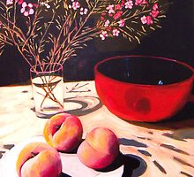 Peaches and Geraldton Wax by Andrew  Pearson