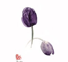 Tulips Purple Flowers Blue Violet Dark Tulip Flower Watercolor Painting by Johana Szmerdt