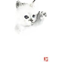 Cat Kitten Pure Animal Grey White Blue Delicate Cute Fun Animals Pet Watercolor Painting by Johana Szmerdt