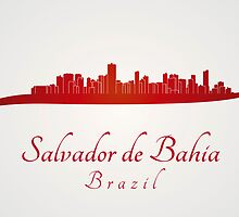 Salvador de Bahia skyline in red by paulrommer