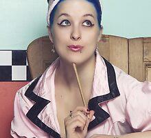 Retro waitress at the diner by PhoenixXstorm