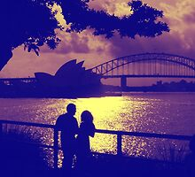 Love, actually, at sunset Sydney Harbour by David Hastilow