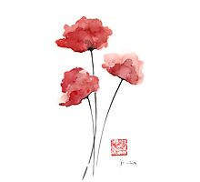 POPPIES Flowers Orange Red Poppy Flower watercolor painting ink by Johana Szmerdt