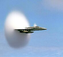 Hornet Aircraft Breaking Sound Barrier, 1999 by cadellin