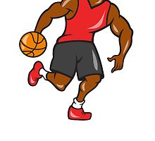 Basketball Player Dribbling Ball Cartoon by patrimonio