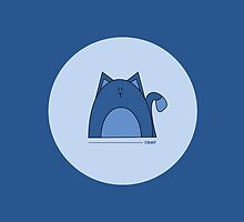 Blue Cat iPad Case by Louise Parton