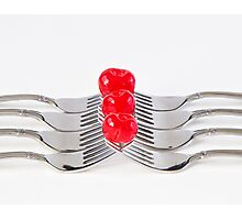 Cherries and Forks Photographic Print