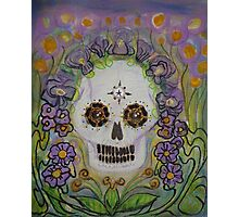 Violet Sugar Flower Scull Photographic Print