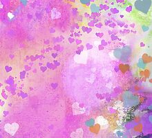 Grunge hearts abstract art I by Mariannne Campolongo