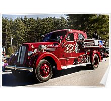vintage fire truck in parade. Poster