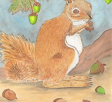 Squizzy Squirrel Gets Ready For Winter (with title added) by Briony Ryan