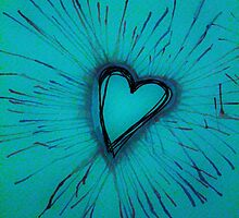 Light Blue Exploding Heart by Amber Batten