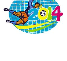 Brazil 2014 Goalie Football Player Retro by patrimonio