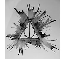 Black and White Exploding Deathly Hallows Photographic Print