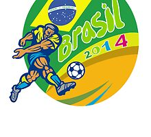 Brasil 2014 Football Player Kicking Retro by patrimonio
