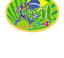 Brasil 2014 Soccer Football Player Oval Retro by patrimonio