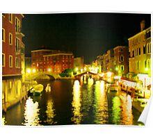Italy. Venice Night lights Poster