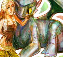 Game of Thrones + How to Train Your Dragon Dany + Toothless Sticker