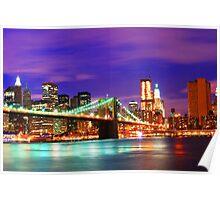 New York City Purple Skyline Poster