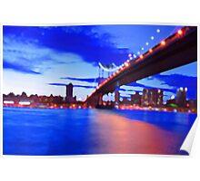 New York City Skyline Bridge Poster