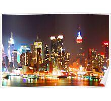 New York City Orange Skyline Poster