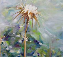 Dry milk thistle in summer Oil on Canvas by Nurit Shany by PhotoStock-Isra