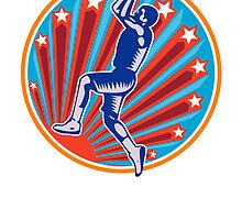 Basketball Player Jump Shot Ball Circle Woodcut retro by patrimonio