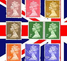 British Royal Mail postage stamps on a union jack background by PhotoStock-Isra