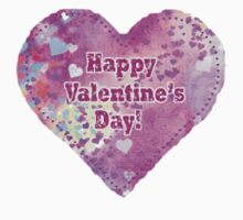 Happy Valentines Day Quilted Heart Sticker  by Mariannne Campolongo