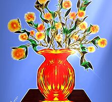 Bouquet of orange, yellow and red flowers 2 by Penny Marcus