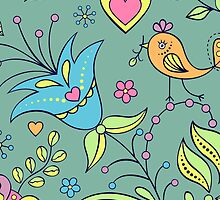 Cute colorful nature birds and flowers pattern by majuli1990