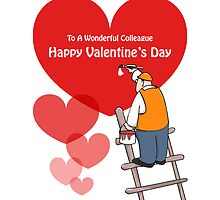 Valentine's Day Colleague Cards, Red Hearts, Painter Cartoon by Sagar Shirguppi