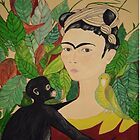 Frida with Monkey and Bird i-pad case by Shulie1