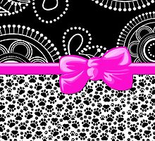 Dog Paws, Traces, Dots - Ribbon and Bow - White Black Pink by sitnica