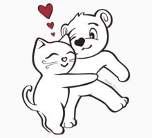 Cat Loves Bear Hug T-Shirts, Hoodies, Kids Clothes, and Stickers by misook