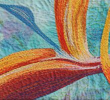 Textile art quilt, Bird of Paradise by Bekahdu