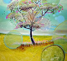 Tree on sunny day with bubbles by Emily  Garces