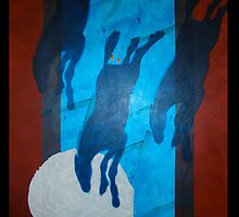 BLUE HORSES FULL MOON POOL by dkatiepowellart