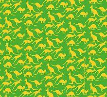 Australian colours Kangaroos - gold and green by JumpingKangaroo