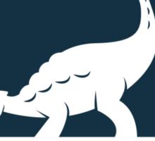 Ankylosaur Fancier Tee (Blue on White) Sticker