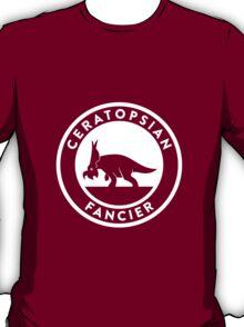 Ceratopsian Fancier Tee (White on Dark) T-Shirt