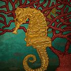 Seahorses and coral by Carl Conway