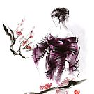 Geisha Geiko maiko young girl Kimono Japanese japan woman sumi-e original painting cherry blossom sakura pink water by Mariusz Szmerdt
