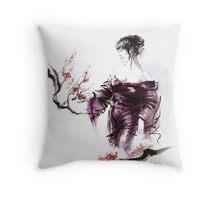 Geisha Geiko maiko young girl Kimono Japanese japan woman sumi-e original painting cherry blossom sakura pink water Throw Pillow