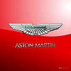 Aston Martin 3D Badge-Logo on Red  by Captain7